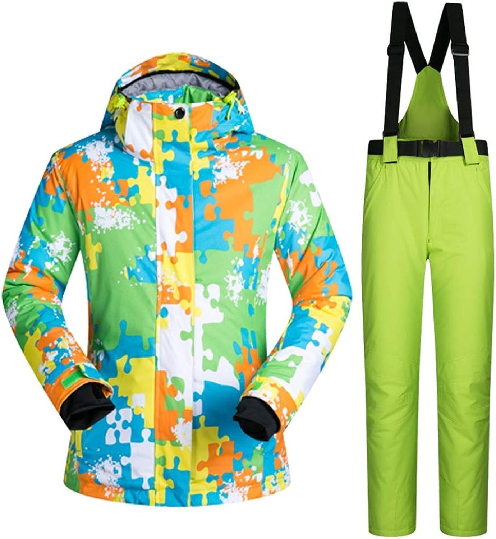 Zjsjacket ski Suit Ski Suit Set Men Women Waterproof Windproof ski Suit Thermal CottonPadded Female Skiing Outerwear colorful Snow Coats Clothing