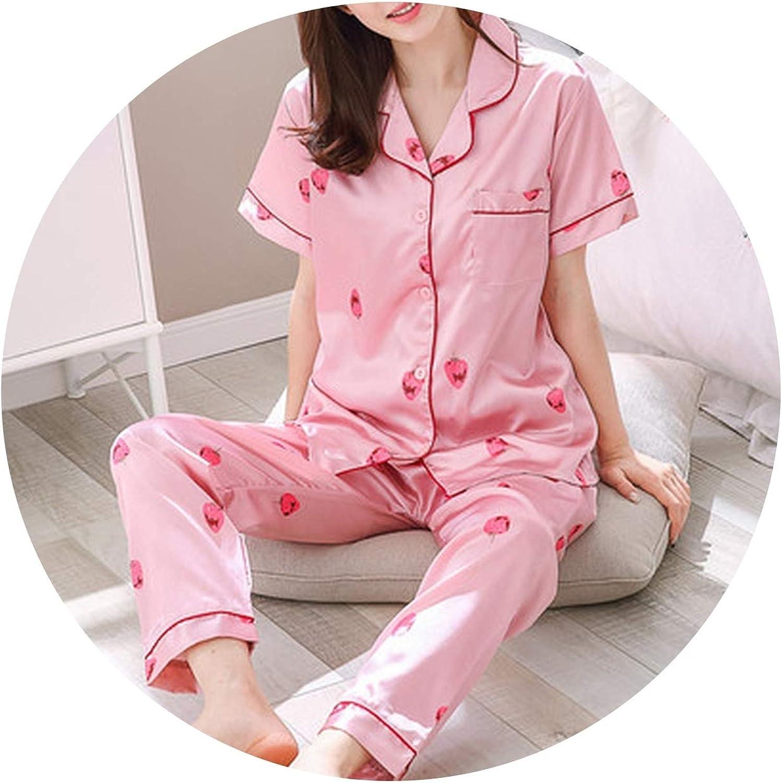 colorful Dream Summer Korean Leisure ShortSleeved Pajamas Set Women Trousers Simulation Silk Woman Cartoon