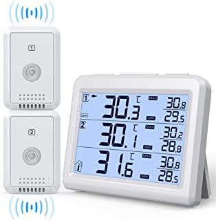 (2019 Upgraded) AMIR Refrigerator Thermometer, 2 Channels Thermometer with 2 Wireless Sensors, Backlight, Audible Alarm Temperature Gauge for Freezer, Kitchen, Home (Battery not Included)