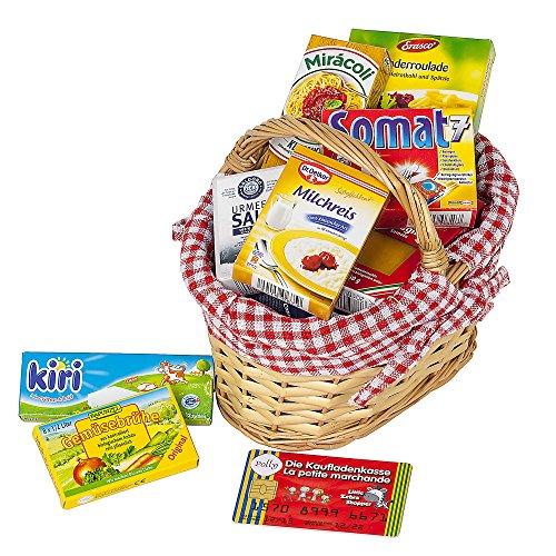 Polly Kaufladen Zubehör Set Roter Weidenkorb gefüllt mit Miniaturen   Kinder Spielzeug für den Kaufmannsladen   Kinderkaufladen