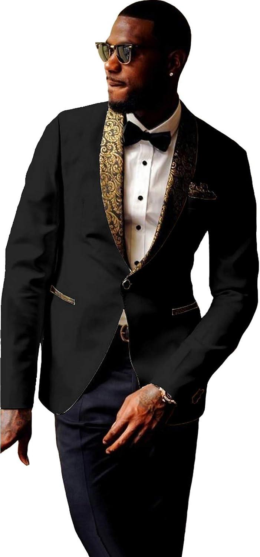 Sxfashbrd Mens Blazer Tuxedo 2 Pieces Slim Fit Suits Jacket Jacquard Shawl Lapel Groomsmen Outerwear Prom Formal Party Coats
