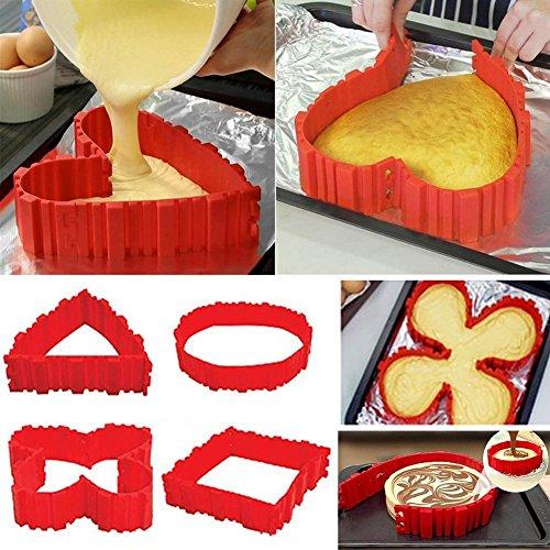 Kuchenformen Nonstick 4PCS Silikon Backform Bake Snake Tortenring Verstellbar Magic Bake - Entwerfen Sie Ihre Kuchen
