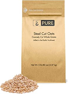 Steel Cut Oats (5 lb.) by Pure Organic Ingredients, also called Irish Oatmeal, Eco-Friendly Packaging, for Everything From Quick Breakfasts to Face Masks And More!