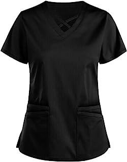 VEMOW Tops de Mujer Uniforme de Trabajo Uniforme Estampado Camisa de Manga Corta Top con Cuello en V, Ropa de Trabajo Enfe...