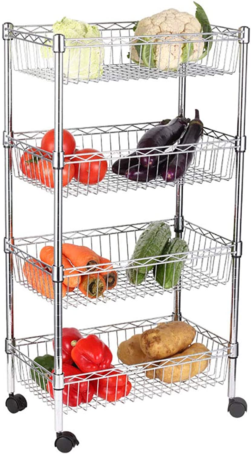 4 Tier Kitchen Storage Trolley with Wheels Metal Fruit Vegetable Rack for Bathroom Multifunction Organizing (Size   50  30  90CM)