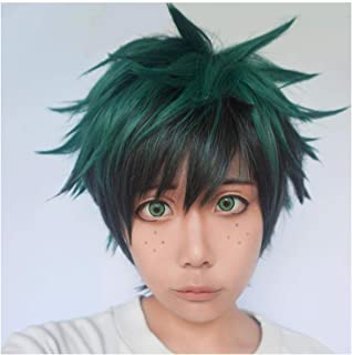 green spiky wig