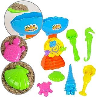 ????????????7pcs Set de Playa Color Beach con Carretilla de Juguete Conjunto de Juguetes Arena para la Playa en Bolsa de Malla moldes de Arena para niños????????????