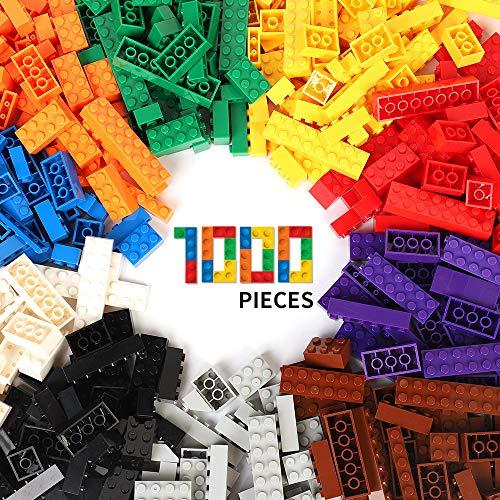 WYSWYG Bausteine 1000 Teile Blöcke Building Bricks Block für 6 Jahren Herauf Kinder kompatibel mit All Major Brands 10 Classis Color Farben, 14 Bulk Shapes Baby Toy Spielzeug Party Favor