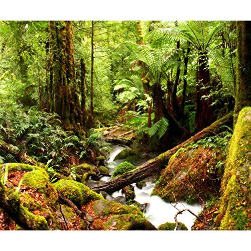 decomonkey Fototapete selbstklebend Wald Natur 392x280 cm XL Selbstklebende Tapeten Wand Fototapeten Tapete Wandtapete klebend Klebefolie Wasserfall Landschaft