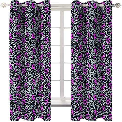 AmDxD 2 paneles 100% poliéster, cortinas modernas para sala de estar, estampado de leopardo, lavable a máquina, color morado y negro, 250 cm de ancho x 100 cm de largo