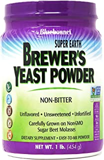 Bluebonnet Nutrition Super Earth Brewers Yeast Powder, Super Food, Whole Food, Source for Vitamins, Great Tasting, Vegan, ...