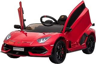TrueMax 12V Kids Ride on Car Lamborghini Aventador SV J w/ Remote Control, Sound System, & Hydraulic Doors (Red)