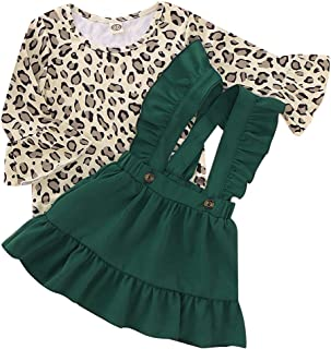 Happy Town Toddler Baby Gril Leopard Print Flare Sleeve Top and Ruffled Suspender Skirts 2Pcs Outfits Set