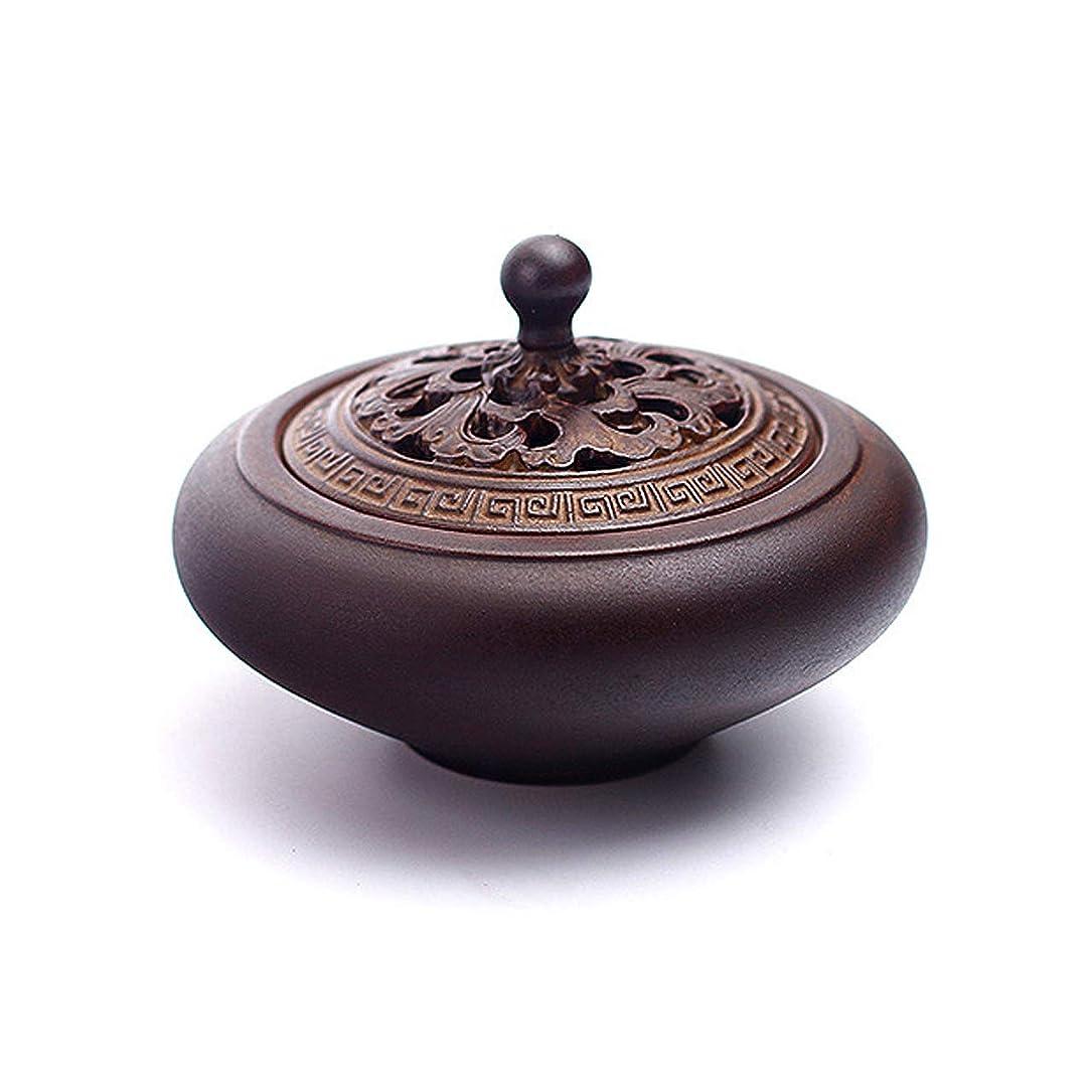 隙間勇敢な群がるHAMILO 蓋付香炉 陶器 中国風 古典 アロマ 癒し 香道 お香 コーン 抹香 手作り 木製台付 (ブラウン)