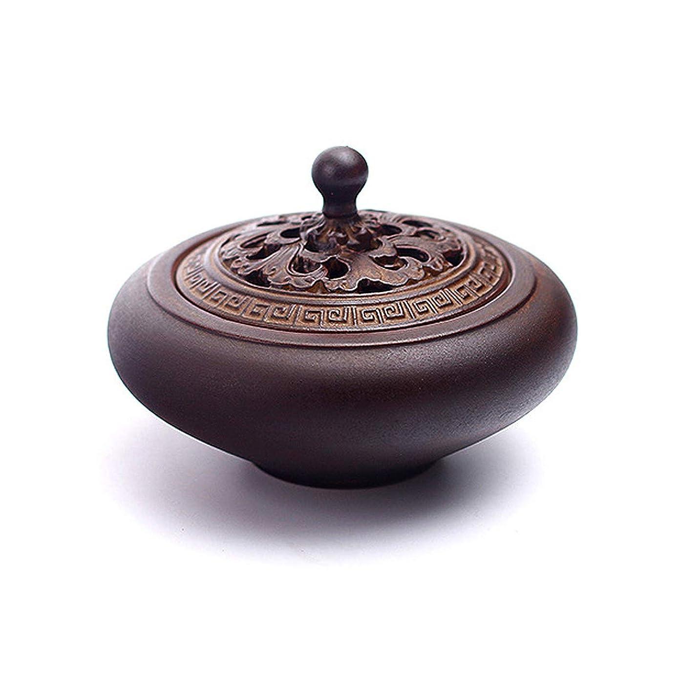 アプライアンスぴかぴか必要ないHAMILO 蓋付香炉 陶器 中国風 古典 アロマ 癒し 香道 お香 コーン 抹香 手作り 木製台付 (ブラウン)