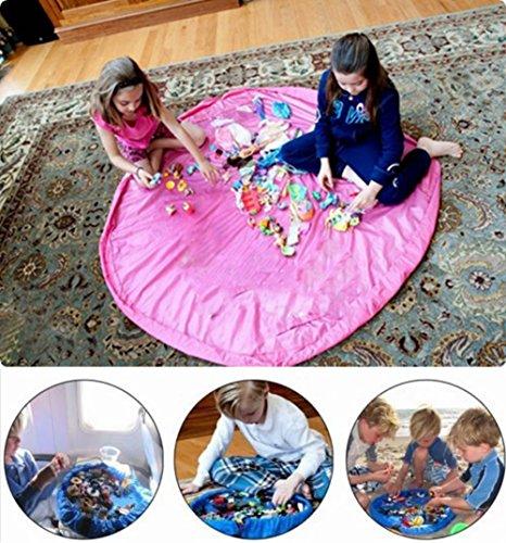 Beauty DIY Mart Bolsa de Almacenamiento de Juguetes, Organizador Tapete Grande A Prueba de Agua Plegable Multiusos 60 Pulgadas de Juguetes de Niños, Rosa