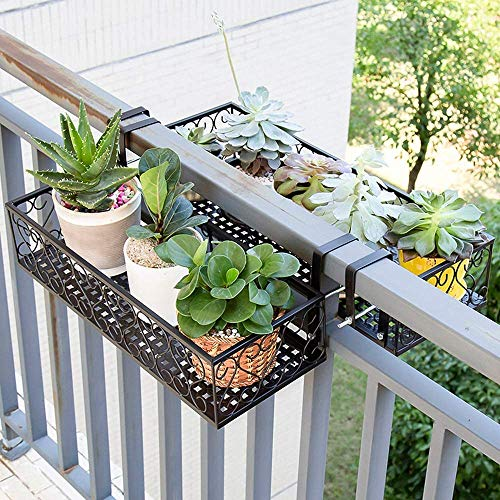 Pkfinrd Opslagrand Mand Houder Bloem Pot Stand Rack Deck Rail Bloempot Railing Plank Balkon Rail Plantenplank Hek Railing Houder