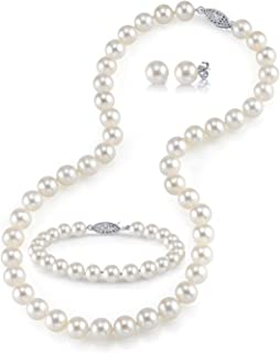 """THE PEARL SOURCE 14K Gold Round White Freshwater Cultured Pearl Necklace, Bracelet & Earrings Set in 18"""" Princess Length for Women"""