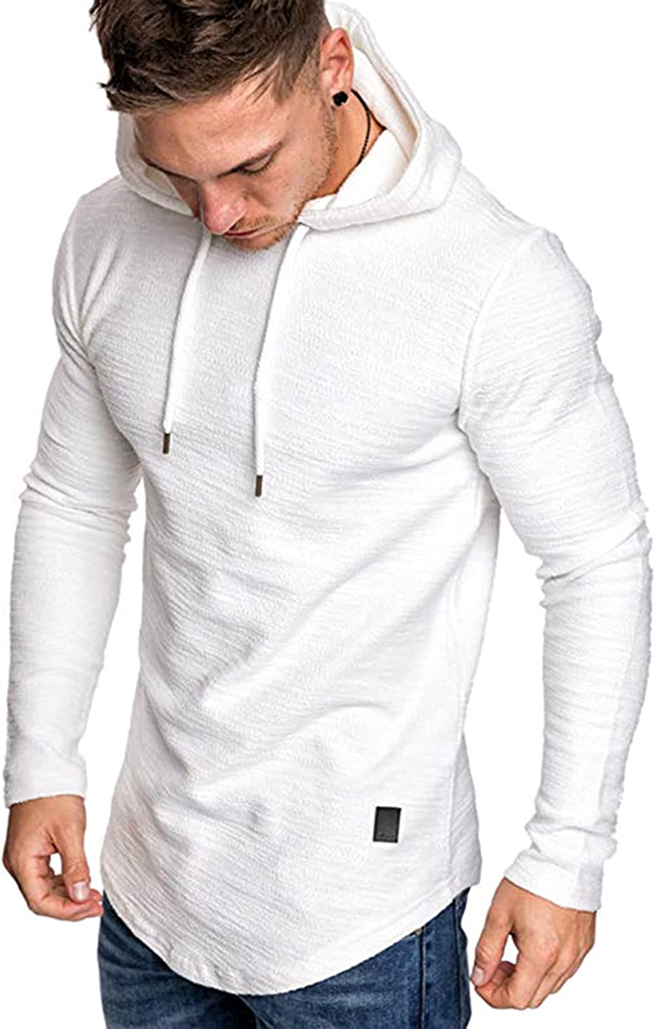 Mens Fashion Casual Workout Hooded T-Shirts Sport Hoodies Long Sleeve Gym Pullover Loose Tops
