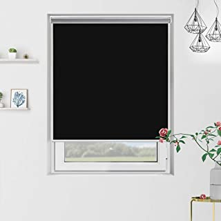 Grandekor Blackout Roller Shades Black Roller Blinds Windows 24 inch x 72 inch, Cordless Spring Window Roller Shade for Home, Thermal and Room Darkening