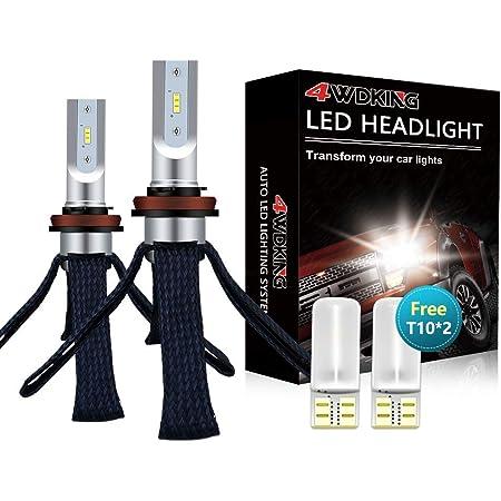 LED Headlight Bulbs Conversion Kit - 4WDKING H11/H8/H9 Fanless Copper Braid Heat Dissipation Super Bright Low Beam Fog Light 60W 8000LM 6500K Cool White High Beam with T10 x2