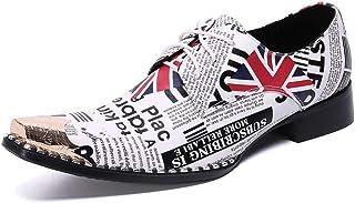 YOWAX Zapatos de los Hombres Zapatos de Cuero de la Cabeza de Metal para Formal, Informal, Fiesta, Negocios Vaquero Person...