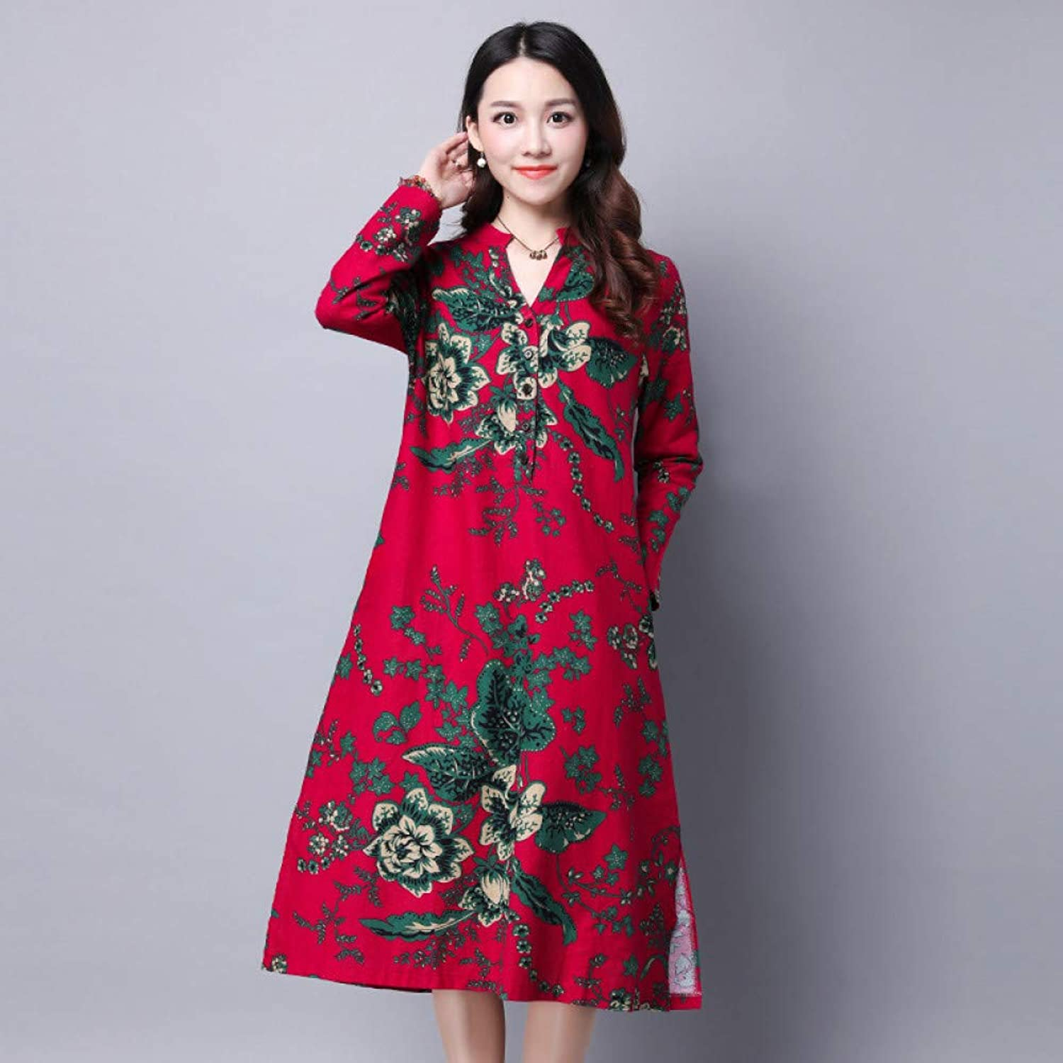 Cxlyq Dresses Cotton and Linen Printed Large Size Women's Dress Long Sleeve Loose Dress