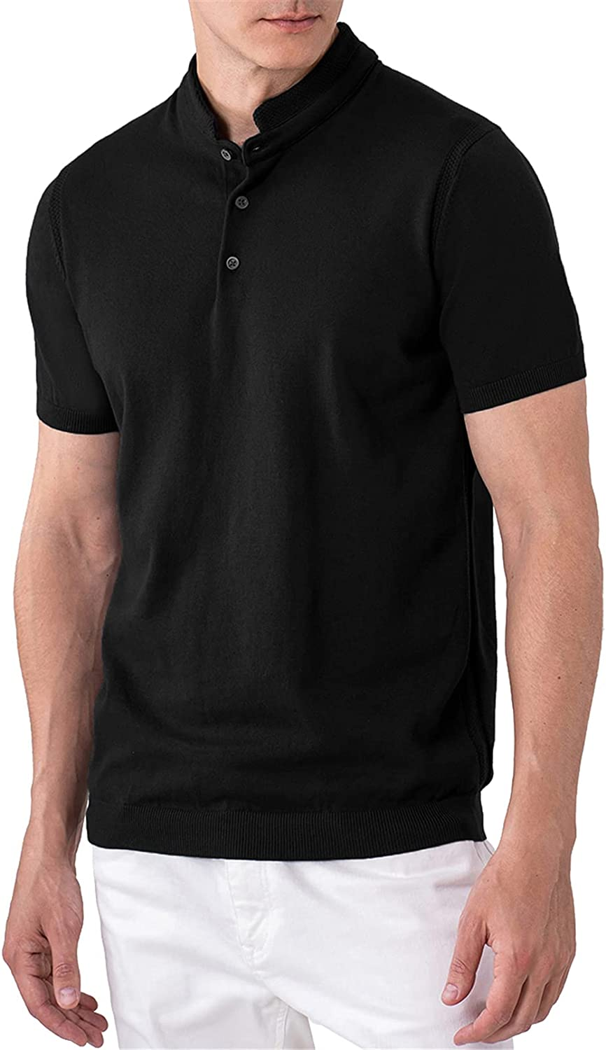 Indefinitely ALTAIREGA Mens Short-Sleeve-Henley-Shirts Max 56% OFF Stand-Up-Collar Knit-P