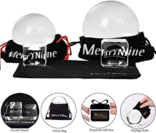 MerryNine Professional Photography Crystal Ball, K9 Crystal Glass Ball with Pouch (60mm + 80mm, with Stand)
