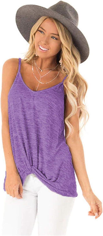 Womens Sexy Sleeveless Cami Tank Tops V Neck Spaghetti Strap Vest Summer Loose Shirts Blouses (Purple,Medium)