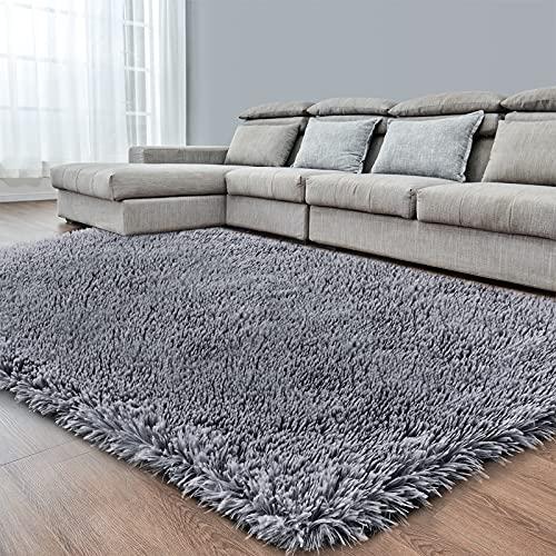 Dark Grey Soft Area Rug for Bedroom,8x10,Fluffy Rugs,Big Rug,Shag Carpet for Living Room,Furry Rugs for Girls Boys...