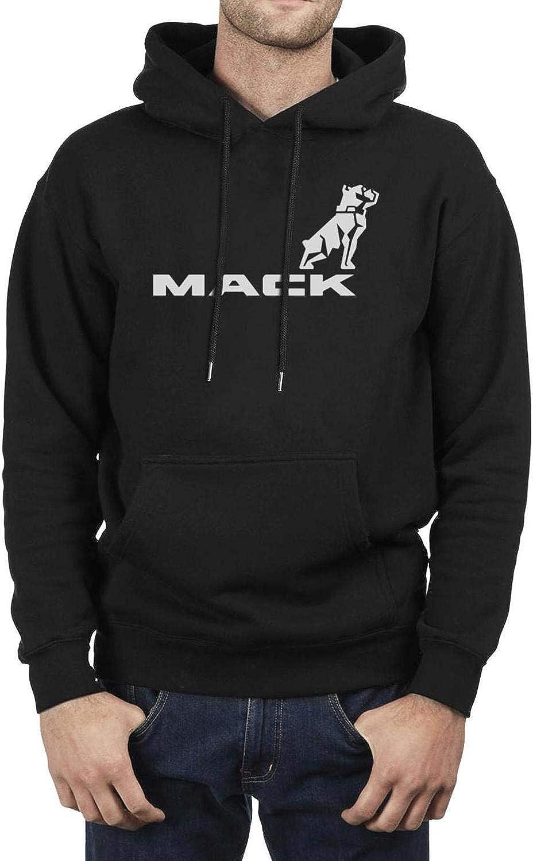 Mens Vintage Hoodies Mack-Trucks-Dog-American-American-Flag- Stylish Casual Sweatshirt Warm Tall Pocket Sweaters