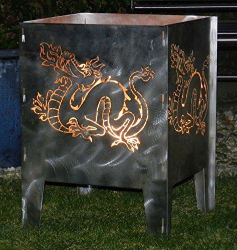 Design in Steel - Feuerkorb Drache 40 x 40 cm - Serie Coybo
