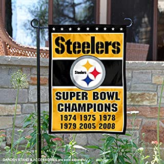 Wincraft Pittsburgh Steelers 6 Time Super Bowl Champions Double Sided Garden Flag