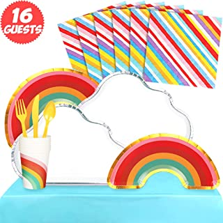 Partybus Party Supplies Set - Serves 16, 118 Ct, Rainbow Cloud Theme Party Disposable Tableware Kit for Boys Girls Kids Birthday Decorations, Includes Dinner Plates, Dessert Plates, Napkins, Cups, Table Cloth, Silverware