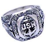 Vintage 925 Sterling Silver United States Navy US Military Veteran Eagle Ring for Men Women Size 9