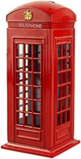 BeeSpring Delicate Britain Metal Alloy Money Coin Spare Change Piggy London Street Red Telephone Booth Bank Souvenir Model Box Jar Piggy Bank Red Phone Booth Box Moneybox-5