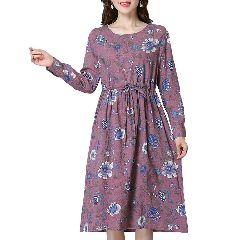 [美しいです]春夏秋 レディース レジャー ドレス カジュアル ゆったり 花柄 体型カバー ワンピース デザインセンス エレガント 気質 プリント ファッション スカート 通勤
