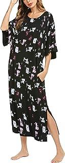 SUNNYME Women Loose Nightshirt 3/4 Sleeve V Neck Nightdress Oversized Nightgowns Home T-Shirt Dress Summer Nightie