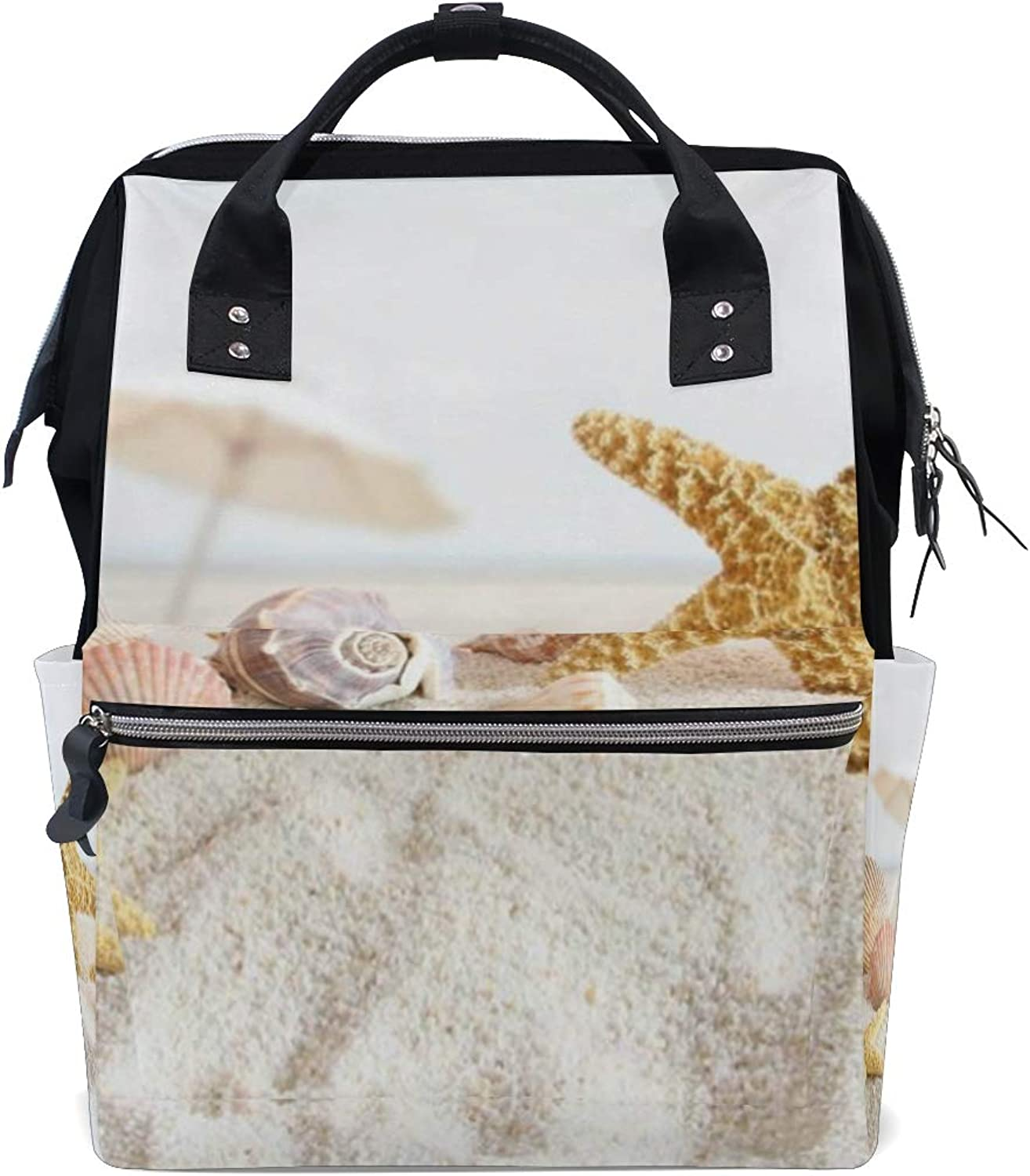MONTOJ Beach Starfish Shells Canvas Travel Bag Campus Backpack
