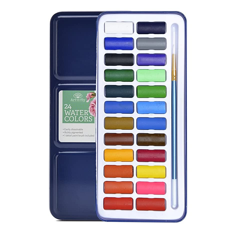 24 Watercolor Paint Set Light Portable Water Colors with Brush Paint - Great for Travel