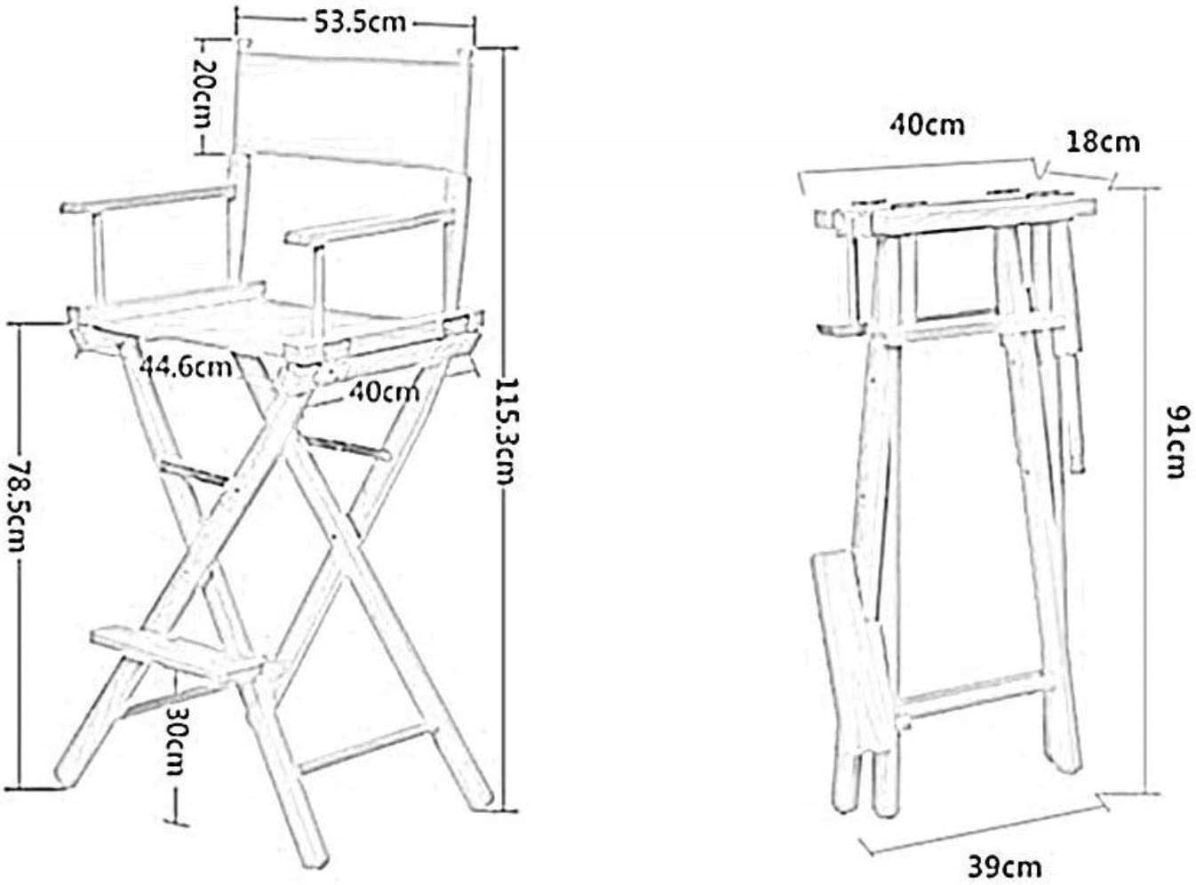 GAOLILI Chaise Chaise en Bois Massif Pliable Haut Tabouret Toile Assise et Dossier Armrests- for Office Loisirs Make Up Outdoor Pêche 8 Couleurs (Color : F) H
