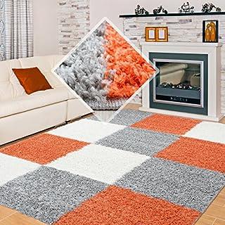 Carpet 1001 Pelo Largo Peluda Sala de Estar Alfombra Shaggy en la Jaula de Terracota Blanco Gris - 160x230 cm