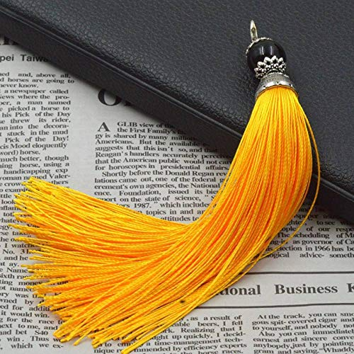 ZYHYCH 5pcs/10pcs/20pcs/lot Long Ethnic Tassels with Lobster Clasp,14cm Colorful Polyester Silk Decoration Beads Tassel Fringes DIY Making Accessories,Gold Yellow,14cm 5pcs