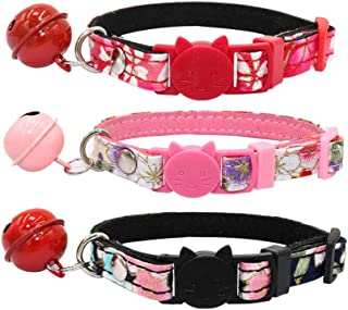 POPETPOP 3PCS Cat Collar with Bell - Christmas Breakaway Cat Collars with Bell Safe and Adjustable Soft Nylon for Kitten C...