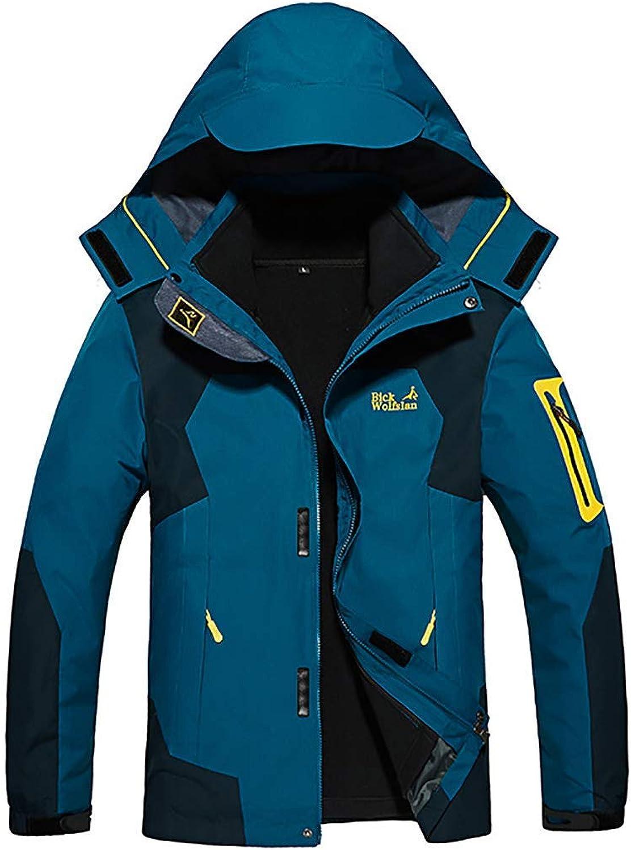 L@LILI Men 3-In-1 Windproof Jacket, Detachable Fleece Liner Two-Piece Down Jacket Waterproof Warm Outdoor Mountaineering Sportswear,Darkbluee,7XL [Energy Class A],A,XXL