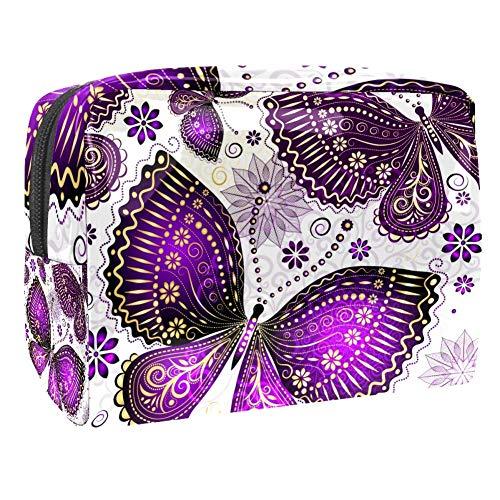 Trousse de toilette multifonction pour femme Motif papillon Violet