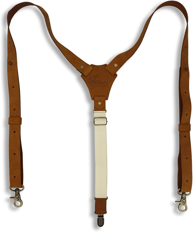 Suspenders Camel Brown Leather Flex Slim 1 inch   Wiseguy Original (XL / XXL)