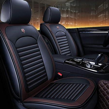 Jdkilp Auto Sitzbezüge Set Leder Full Set Universal Vorne Hinten Sitz Auto Innenkissen Fit 5 Sitze Auto Atmungsaktiv Komfortabelc Color Black Coffee Color Auto