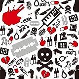 MMPTn Halloween-Thema Hintergrund 8x8ft Vinyl Fotografie Medizin Schädel Rasiermesser Mord Pistole Granate Messer Alcohal Todesseil Spritze Süßes oder Saures Party Horror Nacht Sammeln Baby Shoot